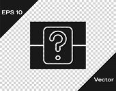 Grey Mystery Box Or Random Loot Box For Games Icon Isolated On Transparent Background. Question Box. poster