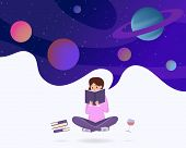 Immersed In Reading Abstract Vector Illustration. Young Girl In Lotus Pose Enjoying Sci Fi Literatur poster