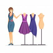 Female Fashion Designer Flat Vector Illustration. Cheerful Dressmaker, Clothing Seller, Model Cartoo poster