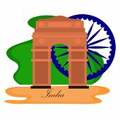 Famous Place In India. India Gate - Vector poster