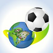 Earth globe with a soccer ball coming out of Brazil. Brazilian football world cup.