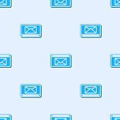 Blue Line Mail And E-mail Icon Isolated Seamless Pattern On Grey Background. Envelope Symbol E-mail. poster