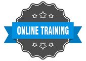 Online Training Blue Label. Online Training Isolated Seal. Online Training poster