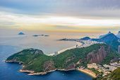 Rio De Janeiro Amazing View, Urca Hill, Sugar Loaf Mountain, Evening Clouds, Sunset. Copacabana Beac poster
