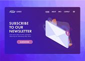 Subscribe To Our Newsletter Ui Ux Web Template Or Landing Page Vector Illustration. Isometric Mail E poster
