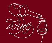 Wine Glass And Bottle. Single Line Drawing With The Text wine In A Modern Style. Design Element Fo poster