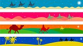 stock photo of magi  - set of four colourful journey of the magi Christmas page border and banner designs - JPG