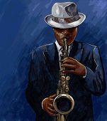 image of saxophone player  - Vector illustration of saxophonist playing saxophone on a blue background - JPG