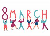 Tiny Women And Men Carry Giant Letters 8 March.women Empowerment Movement Poster.international Women poster