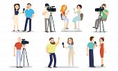 Men And Women Correspondents And Operators During Work Vector Illustration poster