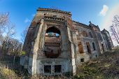 Old Palace Ruins. Old Devastated Palace In Central Europe. Spring Season. poster