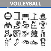 Volleyball Sport Game Collection Icons Set Vector Thin Line. Volleyball Ball In Water And Grid, Athl poster