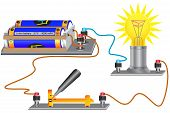 An Electric Circuit Consisting Of A Light Bulb, An Electric Current Source, Conductors, A Switch poster