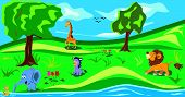 Animals In The Wood. Funny Cartoon And Vector Illustration, Isolated Objects.there Are Elephant,lion poster