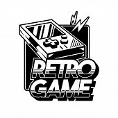 Old School Vintage Gamepad For Play Retro Video Game Gamer Arcade. Custom Design Vector Isometric Il poster