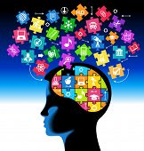 picture of cognitive  - silhouette of a child head with the brain of the puzzles and education icons - JPG
