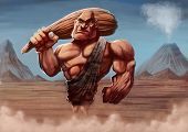 image of caveman  - strong caveman with his club in a ancient background - JPG