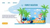 Happy Family Characters On Tropical Vacation Landing Page. Best Tour For Parents And Kids At Seaside poster
