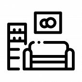 Living Room With Picture Icon Vector. Outline Living Room With Picture Sign. Isolated Contour Symbol poster