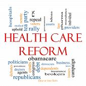 stock photo of mandate  - Health Care Reform Word Cloud Concept with great terms such as healthcare politics courts insurance costs business repeal and more - JPG