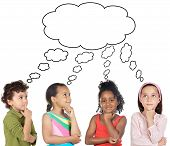 picture of children group  - multiethnic group of children thinking a over white background - JPG