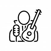 Black Line Icon For Necrophagist Musician Composer Melodist Singer Instrument Playing poster