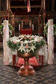 picture of christening  - decoration with flowers on a christening bowl - JPG
