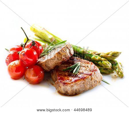 BBQ Steak Barbecue Grilled Beef Meat With Vegetables Healthy Food Barbeque