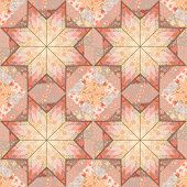 foto of quilt  - Quilt seamless pattern craft handmade background design with star shape - JPG
