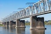 stock photo of novosibirsk  - the Trans Siberian railway bridge over the Ob river at Novosibirsk Siberia Russia - JPG