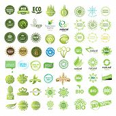 stock photo of frozen food  - universal collection of vector eco bio natural signs - JPG