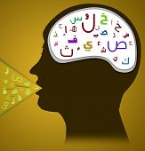 Head with Arabic Alphabet with Arabic Speech