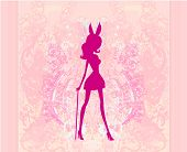 pic of bunny costume  - Girl silhouette in bunny costume on abstract background vector - JPG