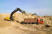 foto of dumper  - Excavator Loading Dumper Truck at Construction Site - JPG