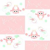 Постер, плакат: Бесшовные цветные сова и птиц шаблон для детей Иллюстрация искусства