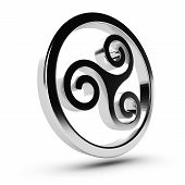 image of triskelion  - Metal Celtic triskelion in 3D over white background - JPG