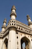 stock photo of charminar  - View looking up towards the top of Charminar tower in the centre of Hyderabad - JPG