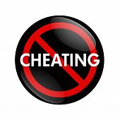 stock photo of cheating  - A black and red button with word Cheating and no symbol isolated on white Stop Cheating - JPG
