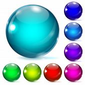 stock photo of adornment  - Set of multicolored glass spheres with shadows - JPG