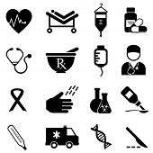 stock photo of beats  - Health care and medical icon set in black - JPG