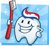 stock photo of toothpaste  - A happy vibrant dental tooth character with toothpaste for hair and a huge toothbrush - JPG