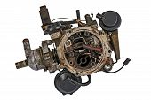 foto of carburetor  - Worn out carburetor from the fuel supply system of gasoline engine - JPG
