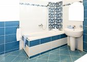 picture of lavabo  - Interior shot of bathroom with blue tiles - JPG