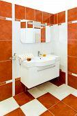 stock photo of lavabo  - Interior shot of modern and stylish bathroom - JPG