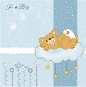 stock photo of sleepy  - baby shower card with sleepy teddy bear vector illustration - JPG