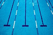 stock photo of swimming  - Swimming pool with empty lanes - JPG