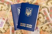 Two international Ukrainian passports on Hryvna banknotes background