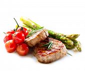 stock photo of vegetables  - BBQ Steak - JPG