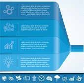 Blue chart template for infographics. Vector