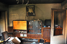 foto of morbid  - Ruins of a destroyed residence after a house fire - JPG